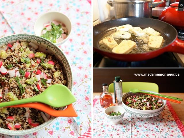recette, quinoa, asperges, vinaigre coquelicot, haloumi, germé